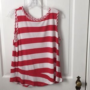Cabi red and white striped T shirt